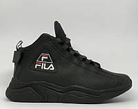 Ботинки мужские зимние кроссовки Fila Parker 72 16172 черные реплика