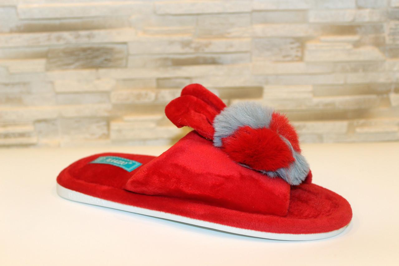 Тапочки комнатные женские красные Ушки с кроликом Тп64