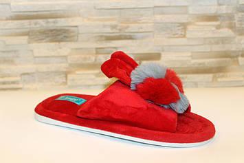 Тапочки кімнатні жіночі червоні Вушка з кроликом Тп64