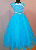 Голубое бальное платье для девочки до 5 - 12 лет, фото 1