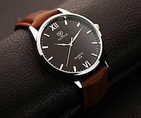Мужские стильные популярные наручные часы Yazole Черный-коричневый