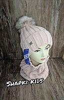 Комплект для девочки (шапка + хомут) Agbo 2104 Tewor K-16, фото 2