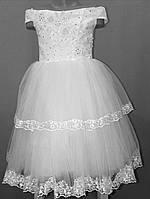 Белое детское бальное платье на 4 - 7 лет