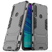 Чехол Hybrid case для Honor 9X бампер с подставкой темно-серый