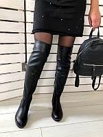Ботфорты женские демисезонные низкий ход натуральная кожа черного цвета