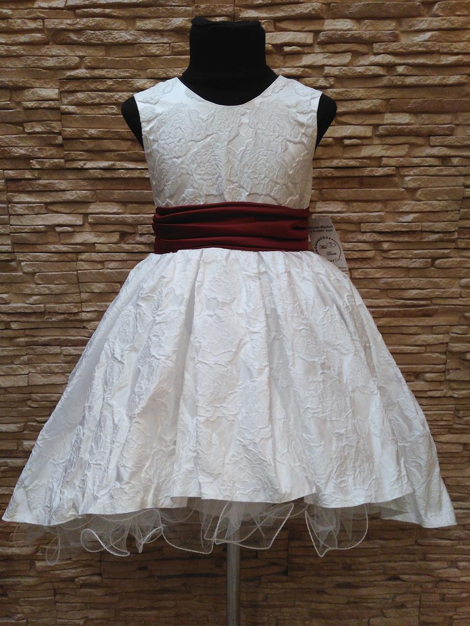 Платье детское нарядное с каскадной юбкой белое с бордовым