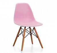 Стул Тауэр Вуд (Tower Wood), пластиковый, цвет розовый ножки бук.