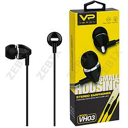 """Навушники """"VERON VH03"""" з мікрофоном силікон провід, чорний"""