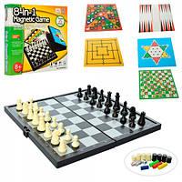 QX6608A Настольная игра 8 в1 (шахматы, нарды, шашки, Лудо и др.), кор. 23-24-3,5 см.