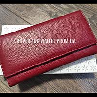 Бордовый женский кожаный кошелек на магнитной фиксации без металического поцелуя Cossroll