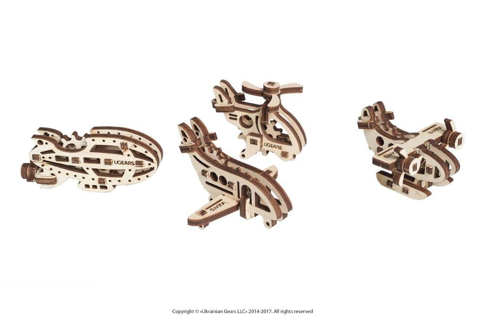 Фіджети-Літальні апарати . Набір з 4 шт. ,3D модель .UGEARS