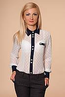 Легкая шифоновая рубашка  в деловом стиле с длинным рукавом