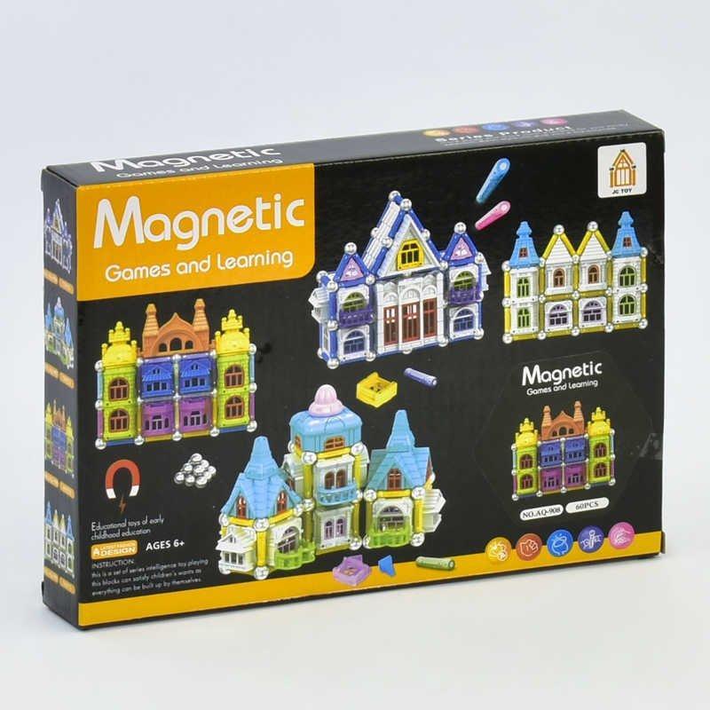 908 Конструктор магнитный Замок 60 деталей, в коробке