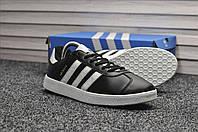 Мужские кроссовки Adidas Gazelle Black White Leather, чёрные (кожа). Размеры (41,42,43,44,45)