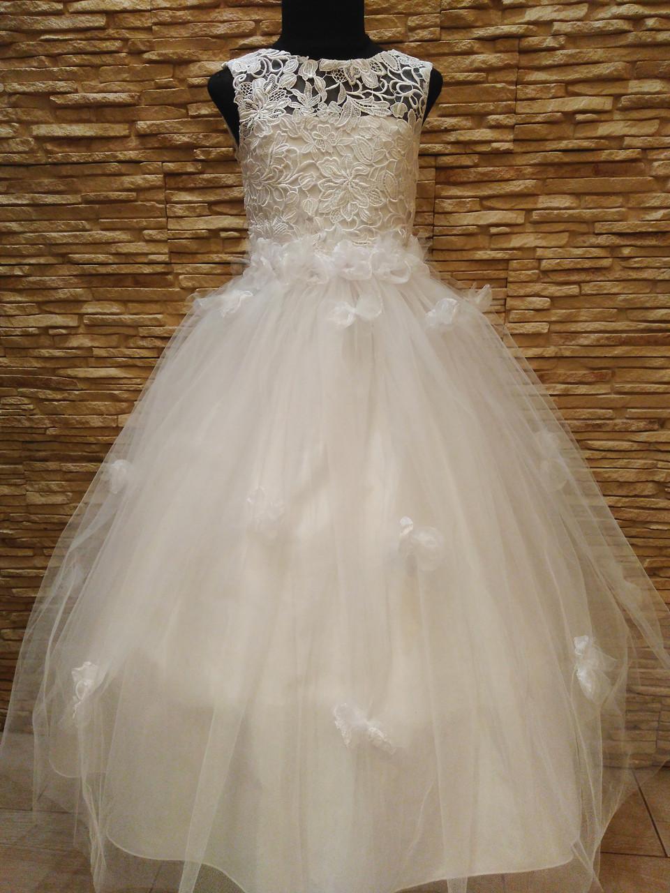 Платье детское нарядное белое с фатиновой юбкой на 7-10 лет