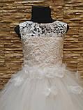 Платье детское нарядное белое с фатиновой юбкой на 7-10 лет, фото 3