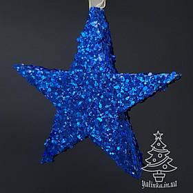 Звезда из пенопласта с присыпкой 15 см Синяя
