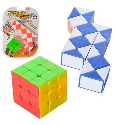 1157-4 Игра головоломка, змейка, кубик Рубика, 2 цвета, в слюде, 19,5-27,5-6см, фото 2