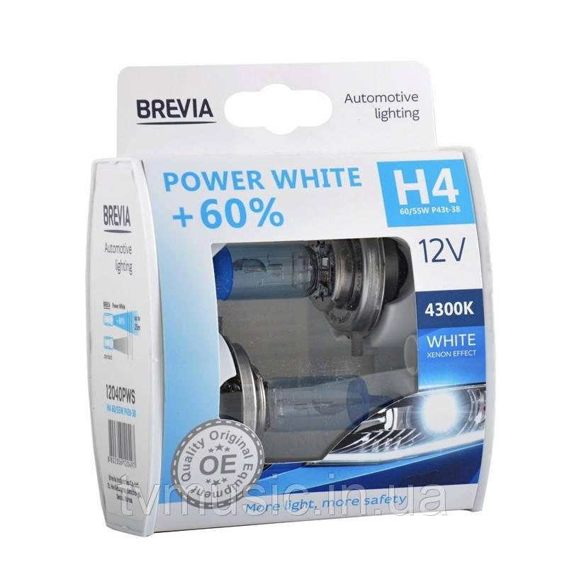 Автолампы BREVIA Power White +60% H4 12V 60/55W 4300K