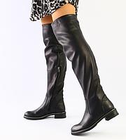 Сапоги Ботфорты черные из натуральной кожи, фото 1