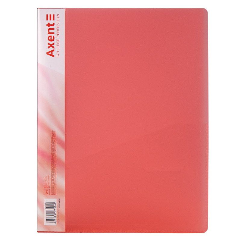 Папка с зажимом, А4, прозрачная красная