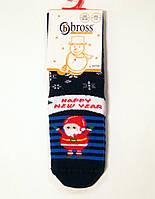 Детские носочки махровые новогодние с силиконом на стопе