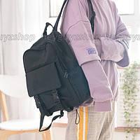 Рюкзак женский мужской черный для ноутбука объемный в корейском стиле