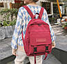 Городской рюкзак  бордовый в корейском стиле унисекс - Фото
