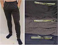 Брюки спортивные зимние мужские под манжет c цветными молниями на карманах
