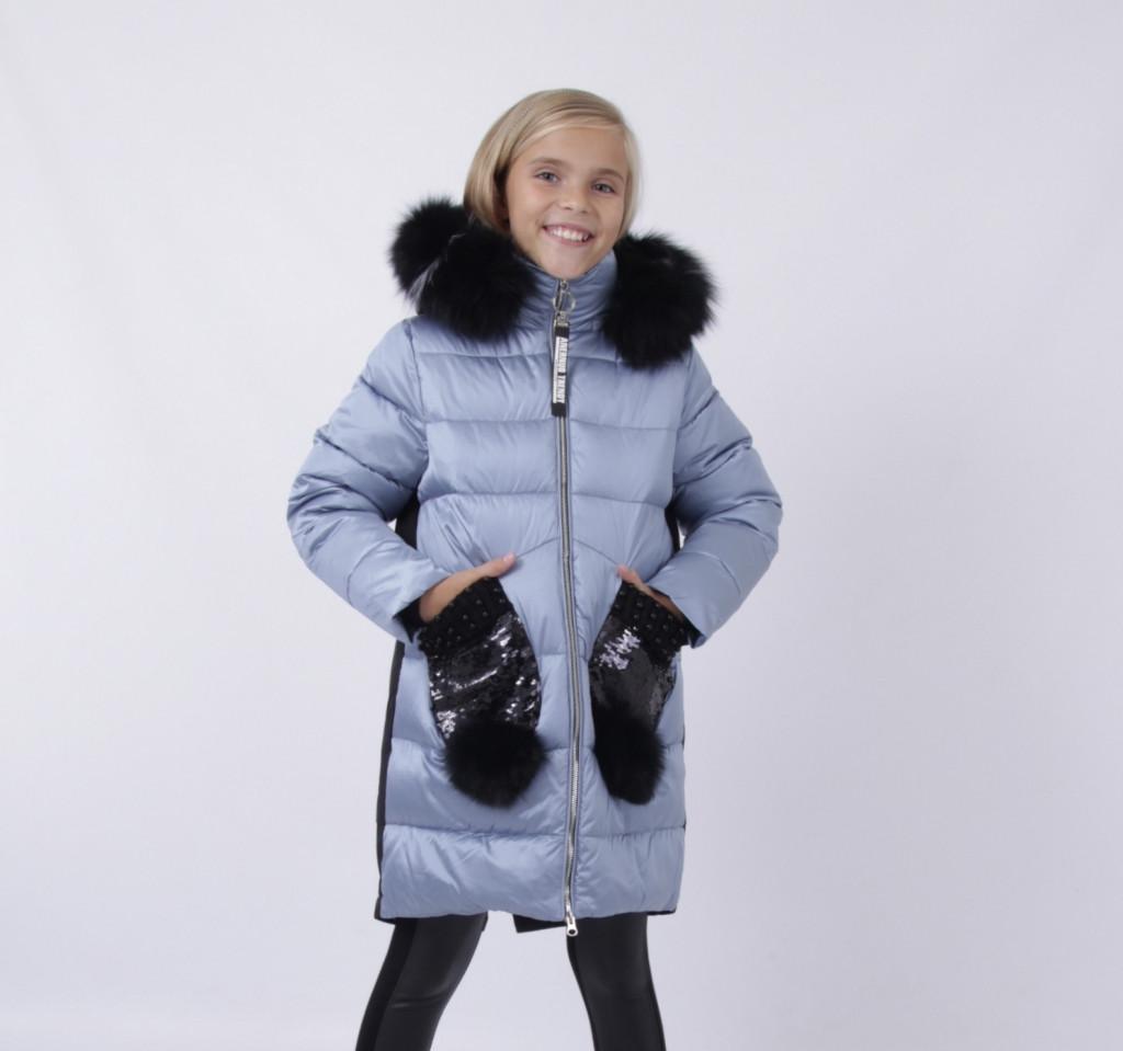 Детский зимний пуховик для девочки на флисе от ANERNUO   116-140р. мех натуральный