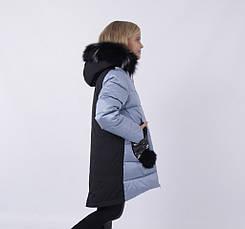 Детский зимний пуховик для девочки на флисе от ANERNUO   116-140р. мех натуральный, фото 3