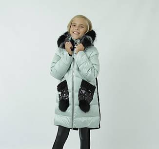 Детский зимний пуховик для девочки на флисе от ANERNUO   116-140р. мех натуральный, фото 2
