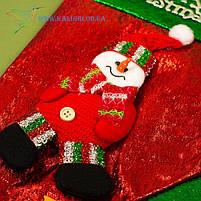 Новорічний носок, новорічний чобіт, чобіток для подарунків Діда Мороза H-19-4, фото 2