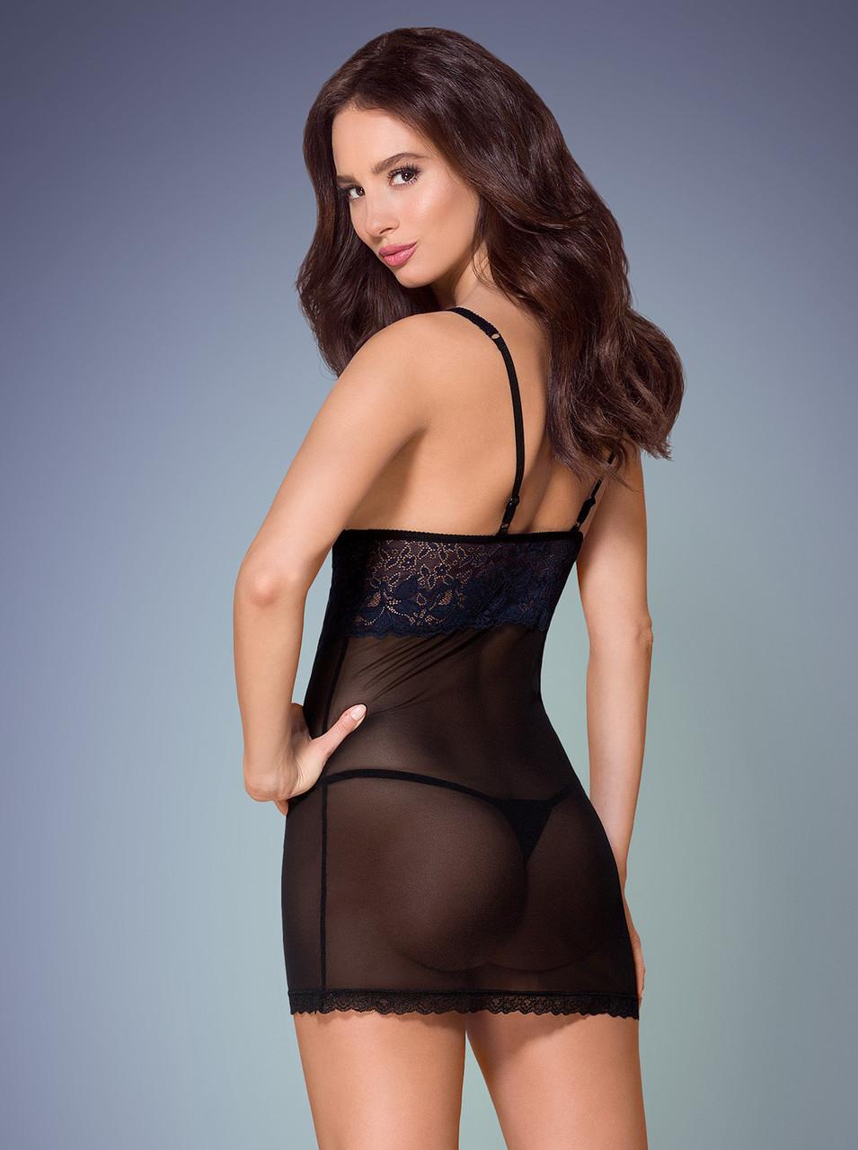 Сексуальная черная сорочка 866-CHE-1 Obsessive