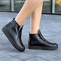 Ботинки полуботинки женские зимние кожаные черные (код 5455) - жіночі черевики ботінки зимові шкіряні чорні, фото 1