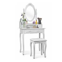 Туалетный столик с табуретом, косметический стол, GLAMOUR (МДФ, белый)