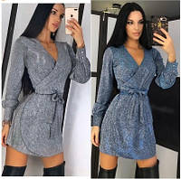 Женское вечернее платье серого цвета. Женское платье на запах с напылением люрекса. Женская нарядная одежда