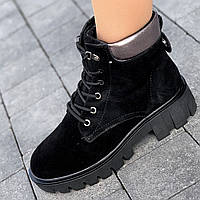 Ботинки женские зимние замшевые черные на толстой подошве, полуботинки  (код 5457) - жіночі черевики зимові