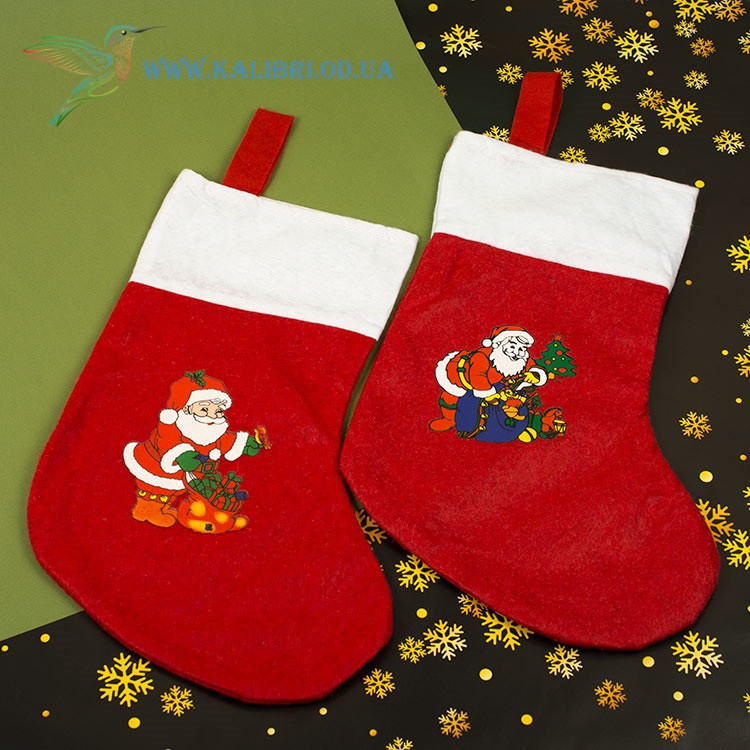 Новогодний носок, новогодний сапог, сапожок для подарков Деда Мороза H-34