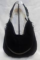 Стильная сумка из натурального замша. Замшевая сумка чёрная., фото 1