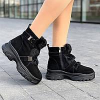 Ботинки женские зимние замшевые черные на толстой подошве, полуботинки  (код 5458) - черевики жіночі зимові