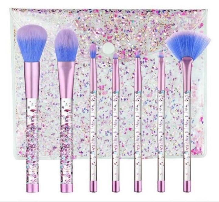 Набор кистей для макияжа с блестками 7шт Merry blue