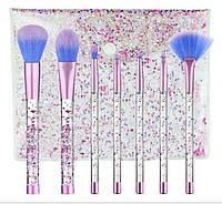 Набор кистей для макияжа с блестками 7шт Merry blue, фото 1