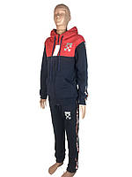 Спортивный костюм теплый зимний подростковый для мальчика   146-152-158-164 синий с красным,капюшнийон