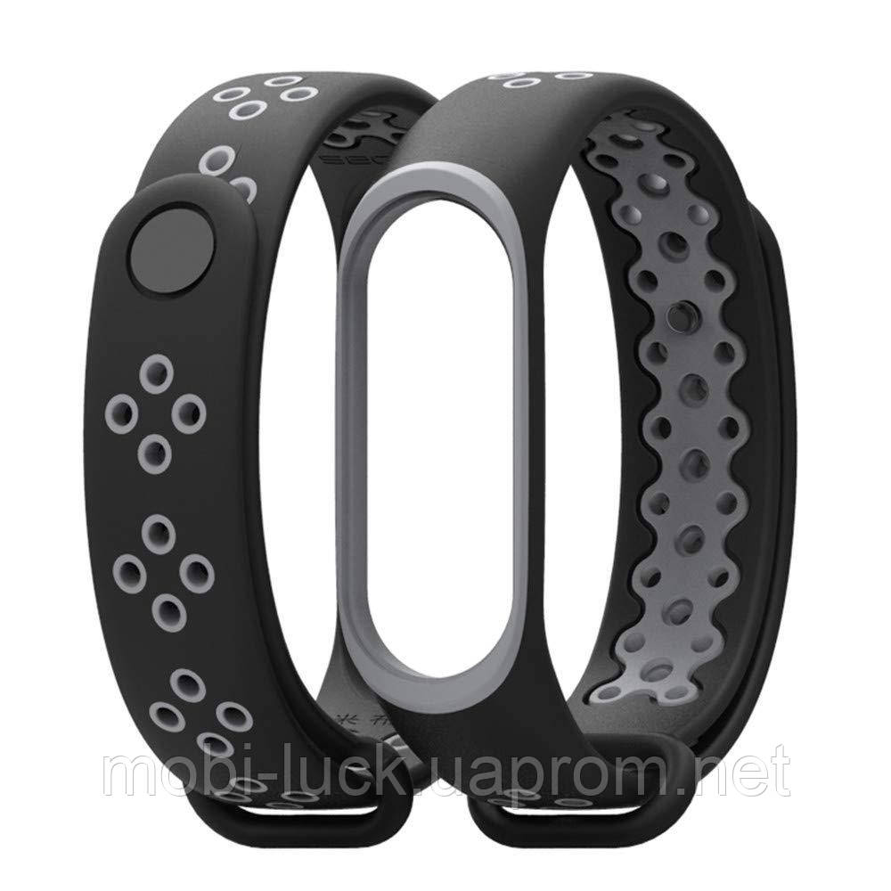 Ремешок Gasta Sport for Xiaomi Mi Band 3 and Mi Band 4 color Black/Grey