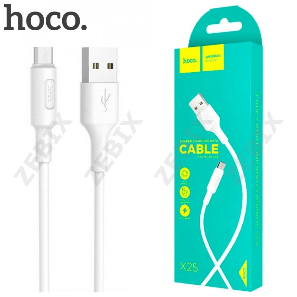 """Кабель Micro USB """"Hoco X25 Soarer Charging"""" 1м силикон круглый провод, белый"""