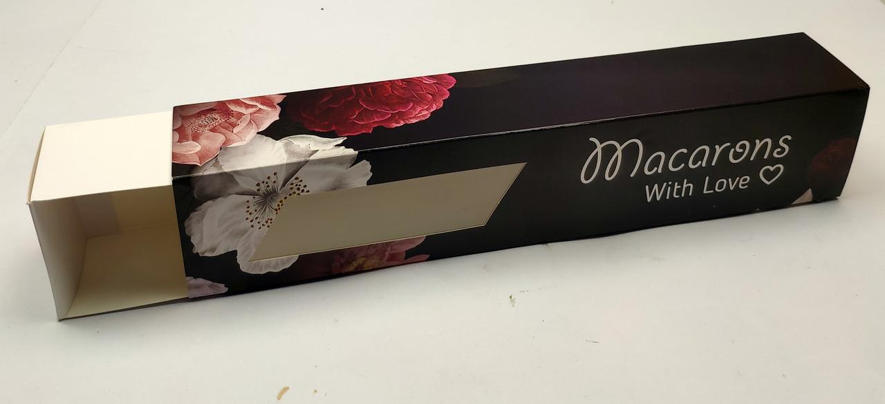 """Коробка для макаронс с окном """"Черная с цветами 30*6*5 см"""",5 шт"""