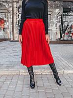 Красная вязаная  женская плиссированная юбка