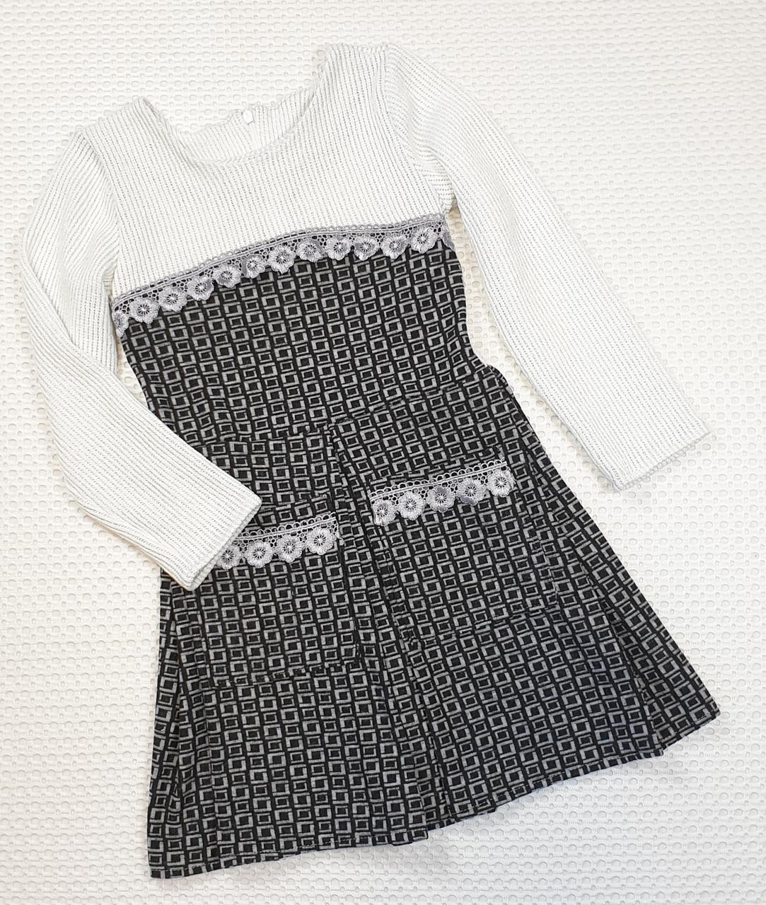 Стильное  платье для  девочки Дарья 122-140  серый+ молочный