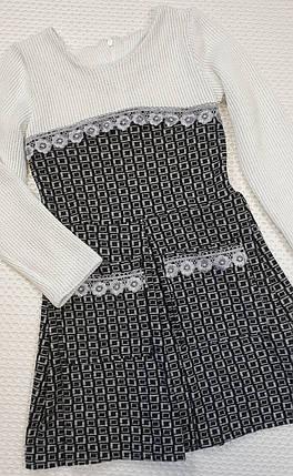 Стильное  платье для  девочки Дарья 122-140  серый+ молочный, фото 2